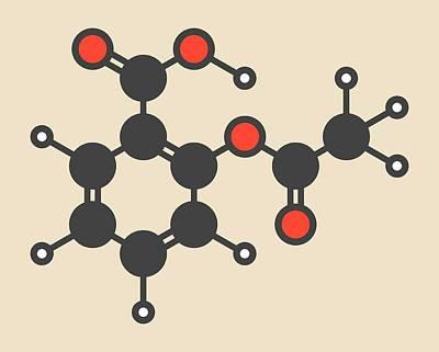 Aspirin Drug Molecule Art Print by Molekuul