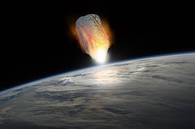 Outer Space Mixed Media - Asteroid Strike No.1h by Marc Ward