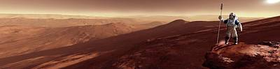 Mountain View Photograph - Astronaut On Mars by Detlev Van Ravenswaay