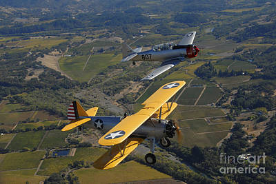 At-6 Texan And Stearman Pt-17 Flying Art Print by Phil Wallick