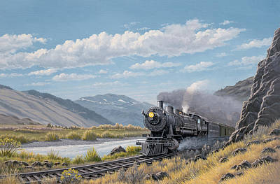 Yellowstone Painting - At Point Of Rocks-bound For Livingston by Paul Krapf