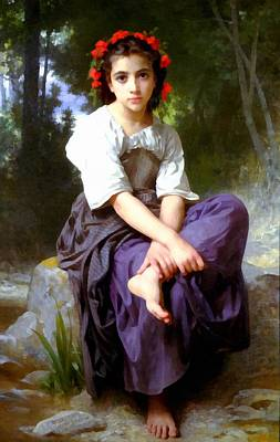 Digital Art - At The Edge Of The Rock by William Bouguereau