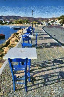 Painting - At The Port Of Ios Island by George Atsametakis