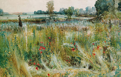 Poppies Field Painting - At The Waters Edge by John William Buxton Knight