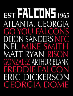 Digital Art - Atlanta Falcons by Jaime Friedman