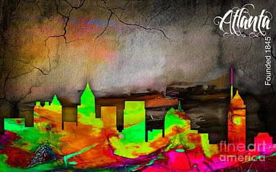 Maps Mixed Media - Atlanta Skyline Watercolor by Marvin Blaine