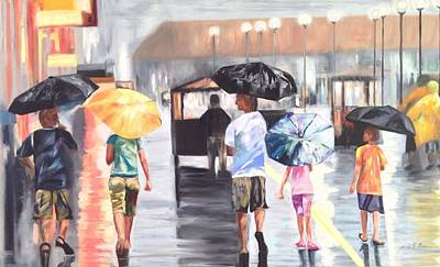 Painting - Atlantic City Boardwalk Rain by Joanne Killian