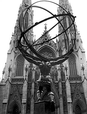 Worship Photograph - Atlas In Rockefeller Center by Underwood Archives