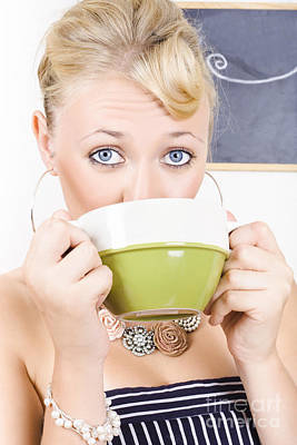 Pause Photograph - Attractive Blonde Woman Drinking Green Tea by Jorgo Photography - Wall Art Gallery