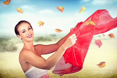 Enjoyment Photograph - Attractive Girl On Outdoor Autumn Picnic Break by Jorgo Photography - Wall Art Gallery