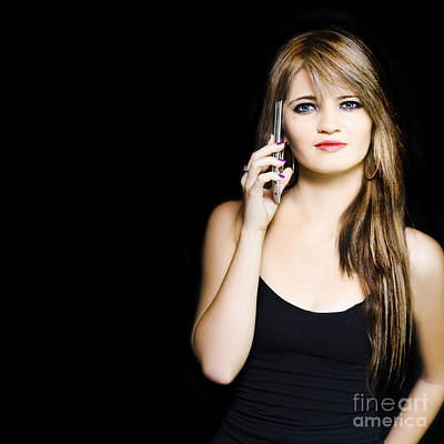 Attractive Young Business Woman Using Mobile Phone Art Print by Jorgo Photography - Wall Art Gallery