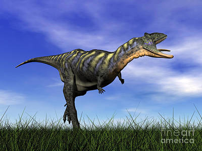 Anger Digital Art - Aucasaurus Dinosaur Running by Elena Duvernay