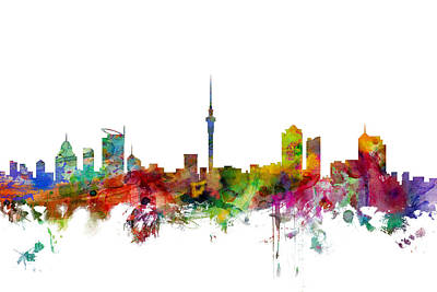 Auckland New Zealand Skyline Art Print by Michael Tompsett