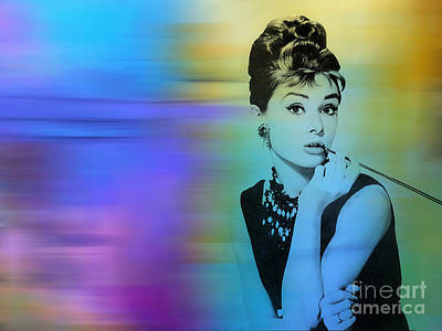 Audrey Mixed Media - Audrey Hepburn Art by Marvin Blaine