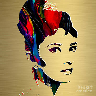 Audrey Hepburn Mixed Media - Audrey Hepburn Gold Series by Marvin Blaine