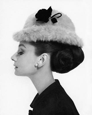 Head Photograph - Audrey Hepburn Wearing A Givenchy Hat by Cecil Beaton