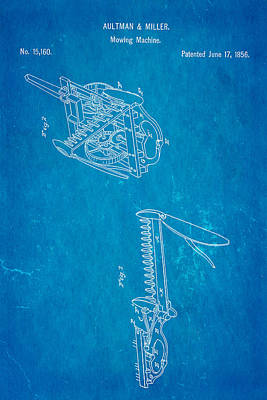 Mower Photograph - Aultman Mowing Machine Patent 1856 Blueprint by Ian Monk
