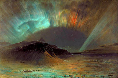 Landmarks Painting Royalty Free Images - Aurora Borealis Royalty-Free Image by Frederic Edwin Church