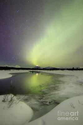 Photograph - Aurora Borealis Over A Creek By Fish by Joseph Bradley