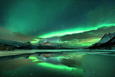 Snowy Night Photograph - Aurora Borealis by Tommy Eliassen