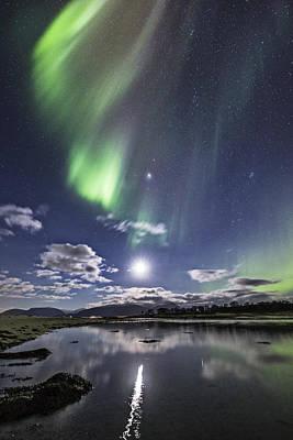Aurora Borealis Photograph - Auroras And Moon by Frank Olsen