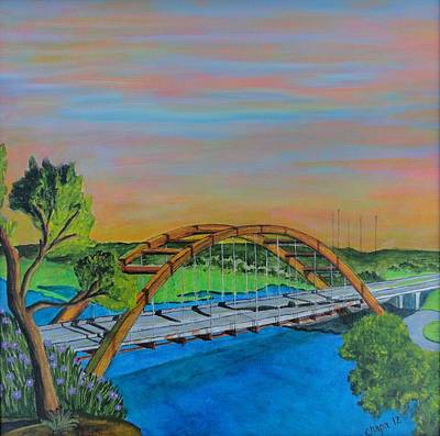 Painting - Austin 360 Bridge Austin Texas by Manny Chapa
