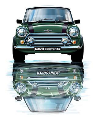 Mini Cooper Digital Art - Austin Mini Cooper With New Bmw Mini Cooper Reflected by David Kyte