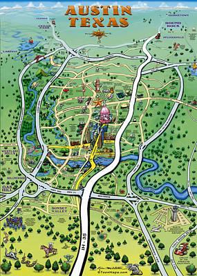 Austin Painting - Austin Texas Cartoon Map by Kevin Middleton
