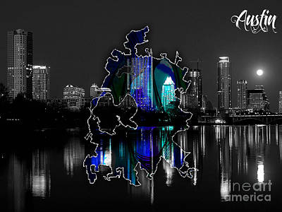 Austin Skyline Mixed Media - Austin Texas Map And Skyline Watercolor by Marvin Blaine