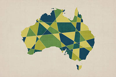 Crosses Digital Art - Australia Geometric Retro Map by Michael Tompsett