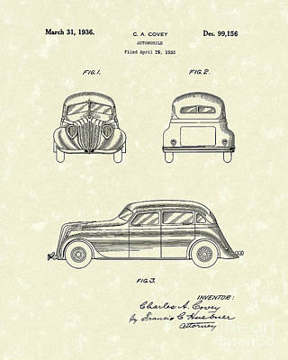 Drawing - Automobile 1936 Patent Art by Prior Art Design