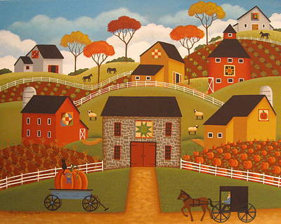 Autumn Barn Quilts Art Print by Mary Charles