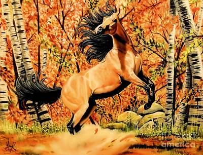 Autumn Frolick Art Print by Cheryl Poland