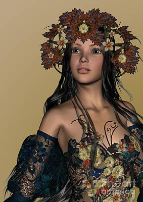 Digital Art - Autumn Girl by Design Windmill