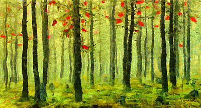 Vacations Painting - Autumn Leaves 9 by George Rossidis