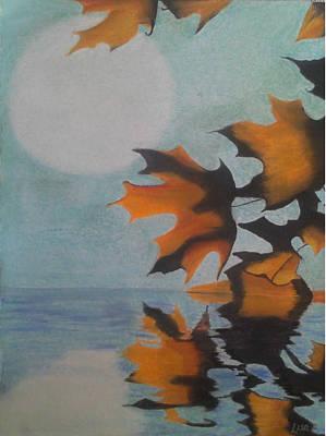 Moonlit Mixed Media - Autumn Moon by Alicia Lindley