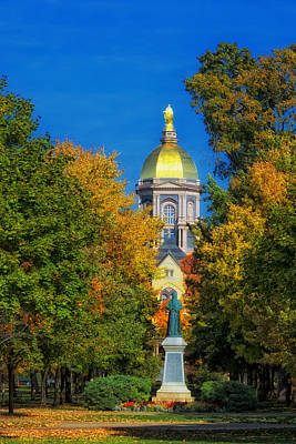 Indiana Autumn Photograph - Autumn On The Campus Of Notre Dame by Mountain Dreams
