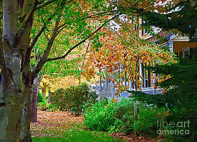 Digital Art - Autumn Porch by Kirt Tisdale