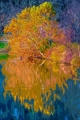 Autumn Landscape Mixed Media - Autumn Reflections 2 by Brian Stevens
