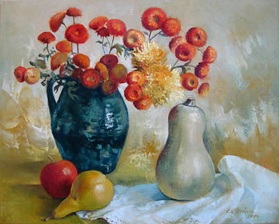 Mums Painting - Autumn Still Life by Elena Oleniuc