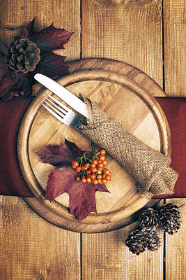 Pine Cones Photograph - Autumn Table Setting by Amanda Elwell