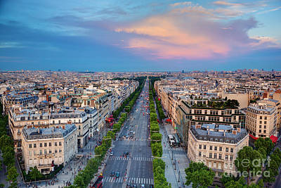 Paris Skyline Royalty-Free and Rights-Managed Images - Avenue des Champs Elysees in Paris France by Michal Bednarek