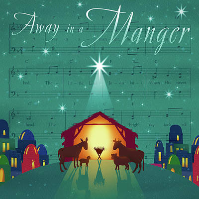 Away In A Manger Print by P.s. Art Studios