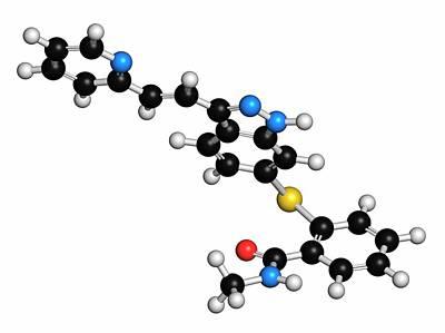 Axitinib Cancer Drug Molecule Art Print by Molekuul