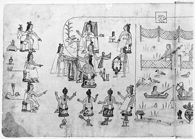 Native Plants Drawing - Aztec Ceremony by Granger