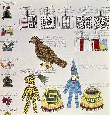Pictograph Painting - Aztec Tribute List, C1540 by Granger