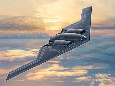 Stealth Digital Art - B-2 Spirit by Stu Shepherd