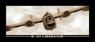 Panoramic Digital Art - B 24 Liberator by Mike McGlothlen