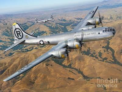 B-29 Digital Art - B-29 On Silver Wings by Stu Shepherd