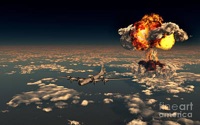Mushroom Digital Art - B-29 Superfortress Flying Away by Mark Stevenson
